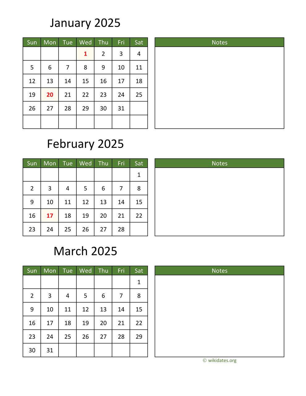 Printable 2025 Calendar   Wikidates for Federal Holidays 2025