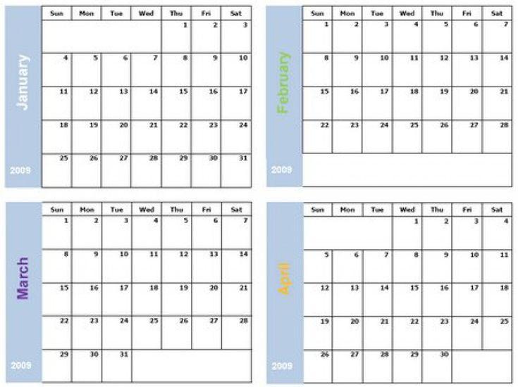 Printable 4 Month Calendar (Dengan Gambar) regarding Printable 4 Month Calendar