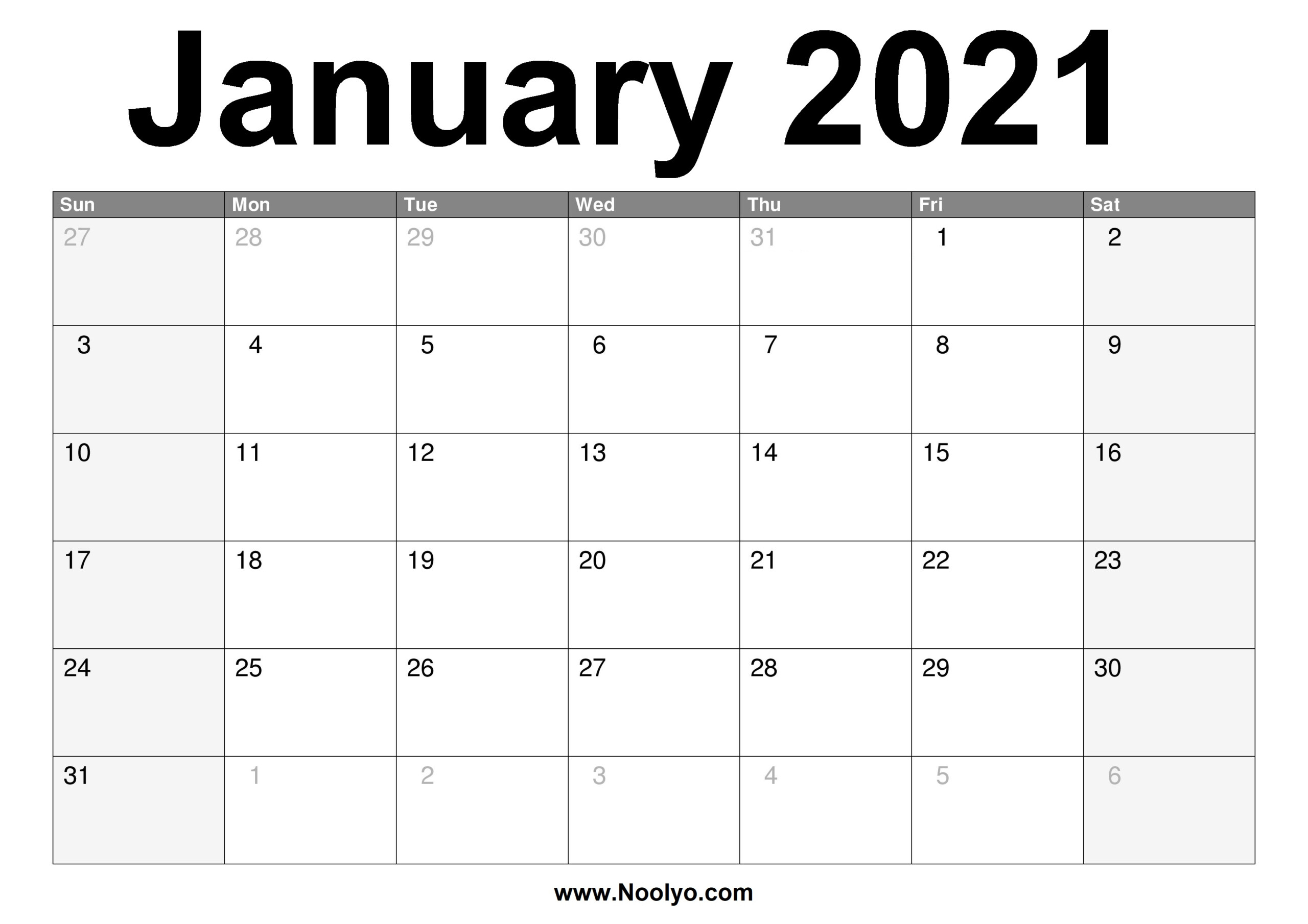 Printable A4 Monthly Calendar 2021 | Free 2021 Printable with Blank Monthly Calendar 2021