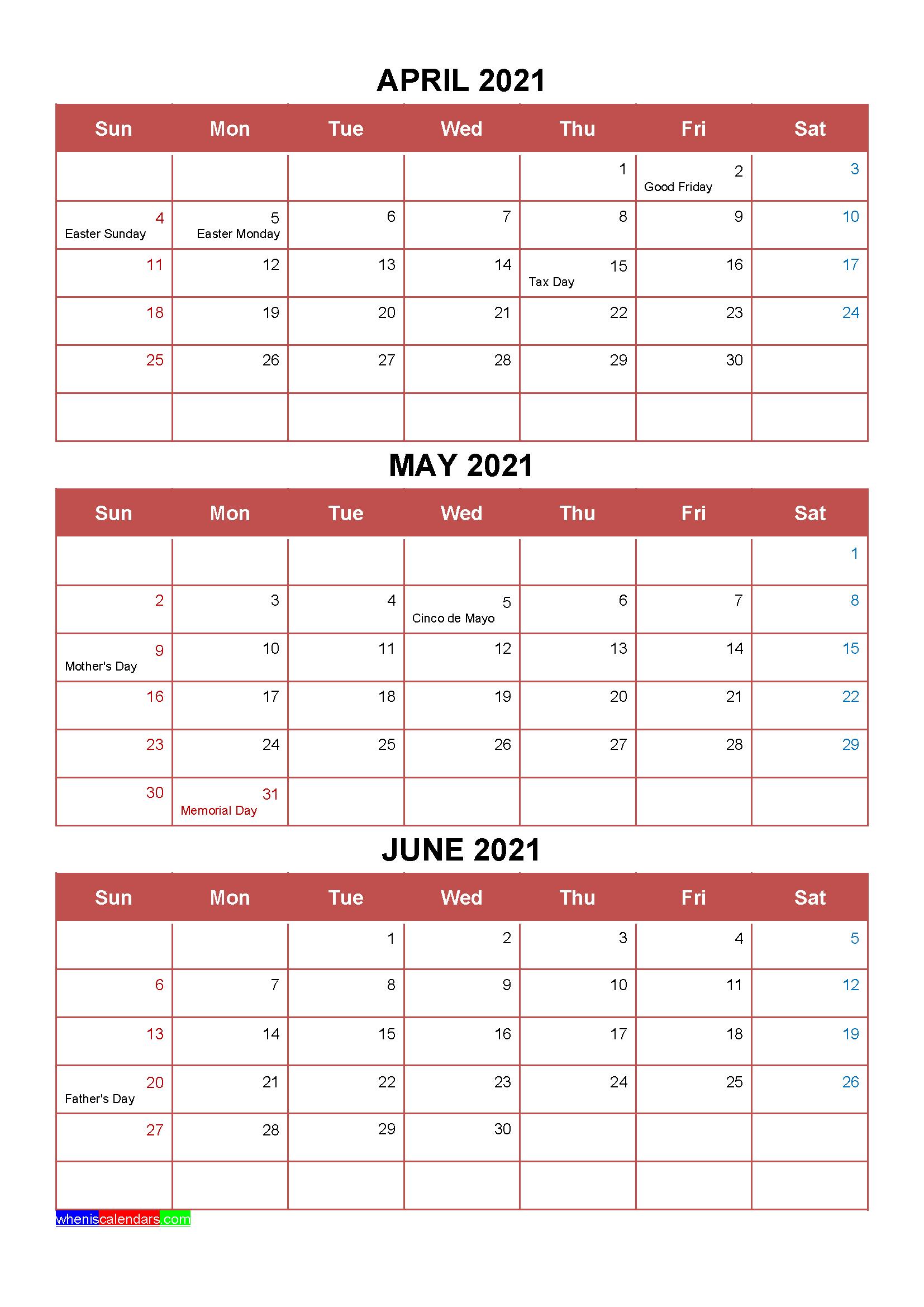 Printable April May June 2021 Calendar Template Word, Pdf with regard to Three Month Printable Calendar 2021