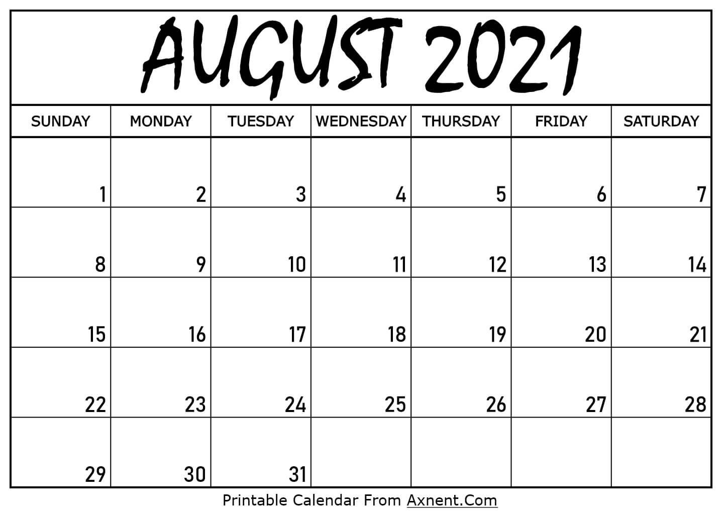 Printable August 2021 Calendar Template  Print Now within August 2021 Calendar Print