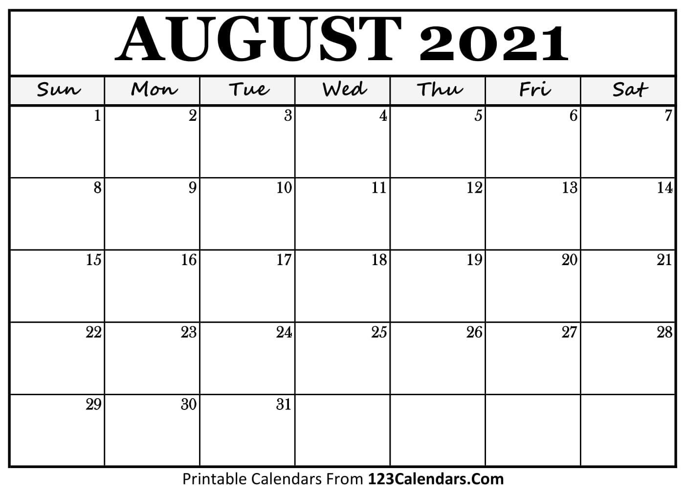 Printable August 2021 Calendar Templates | 123Calendars with regard to August 2021 Template Calendar