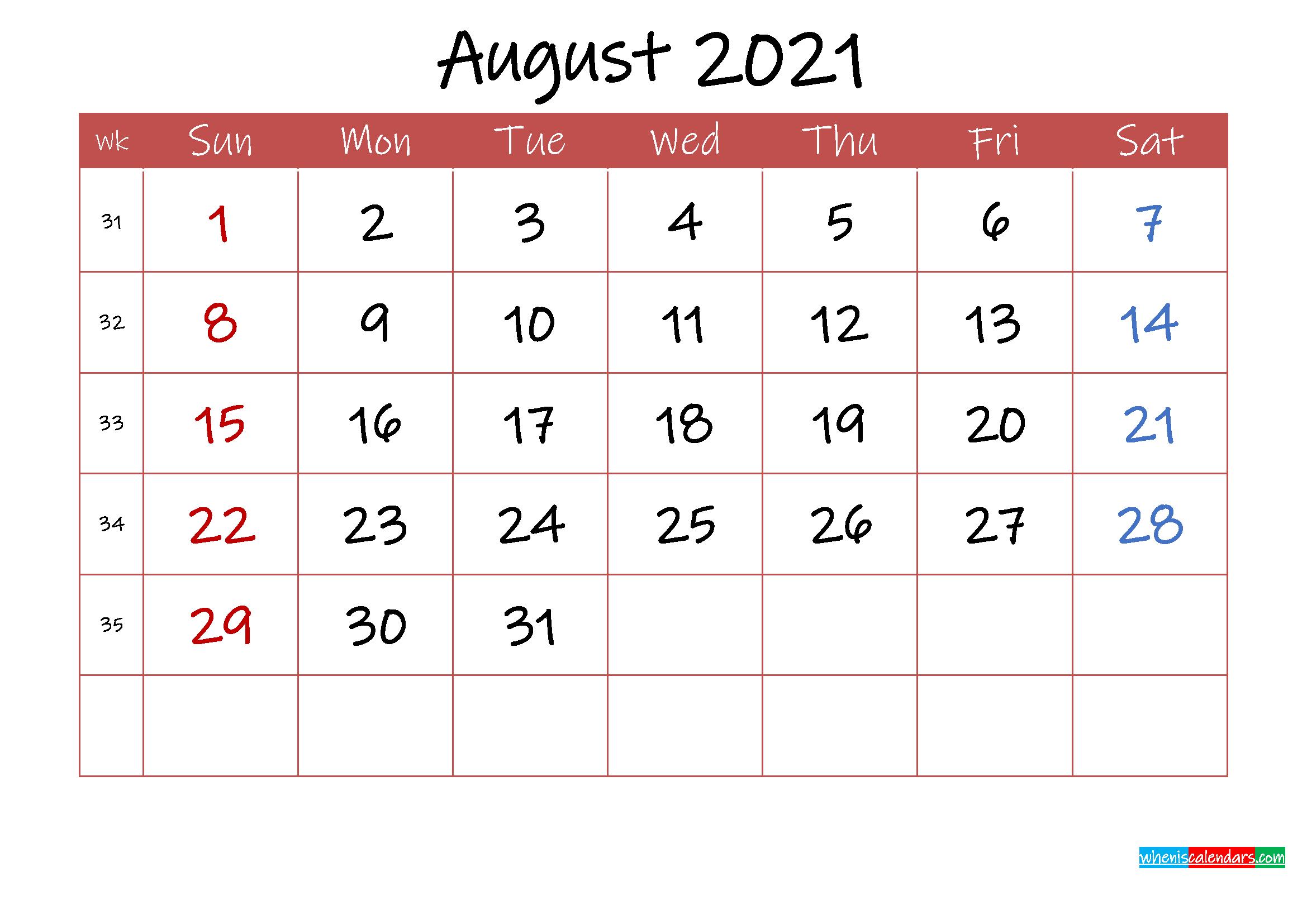 Printable August 2021 Calendar With Holidays  Template for August 2021 Template Calendar