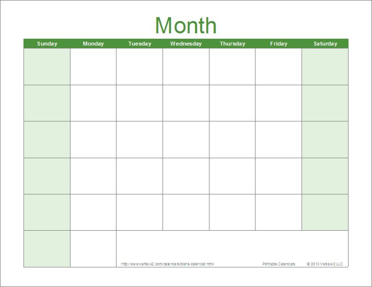 Printable Blank Calendar in Full Page Blank Calendar