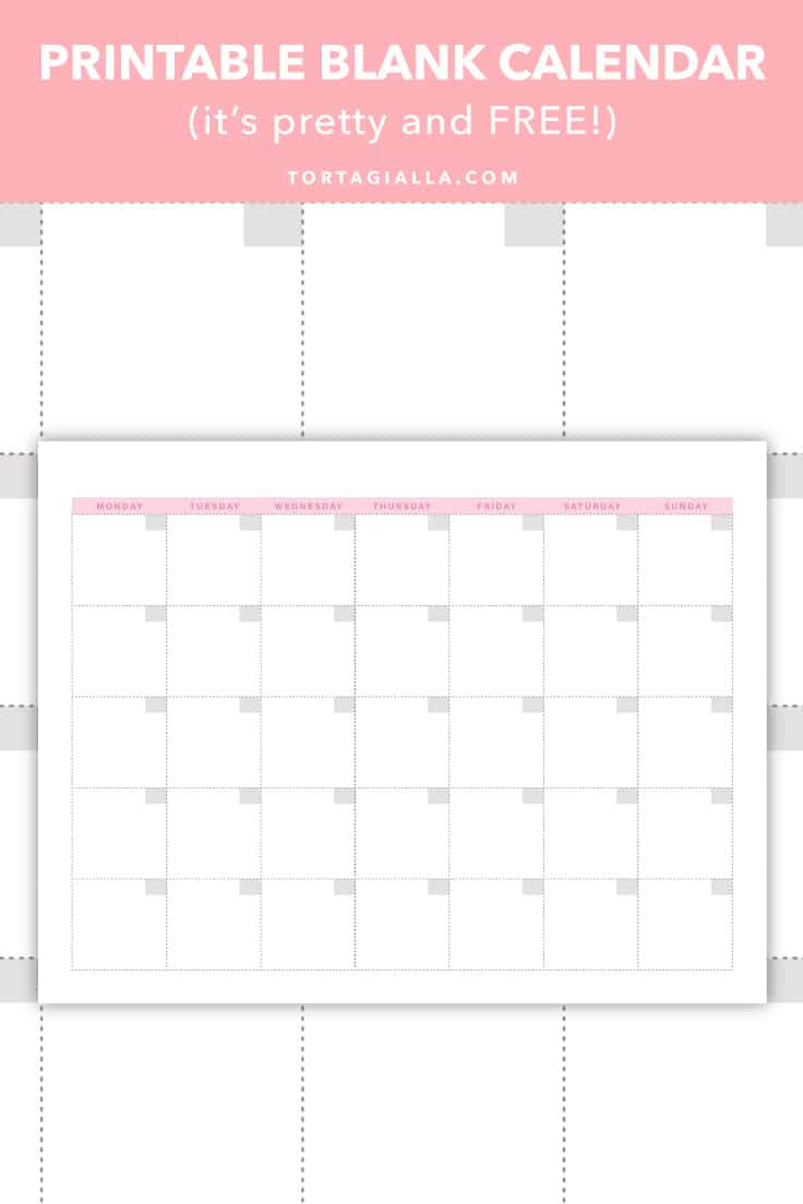Printable Blank Calendar (It'S Pretty And Free!) | Tortagialla intended for Full Page Blank Calendar