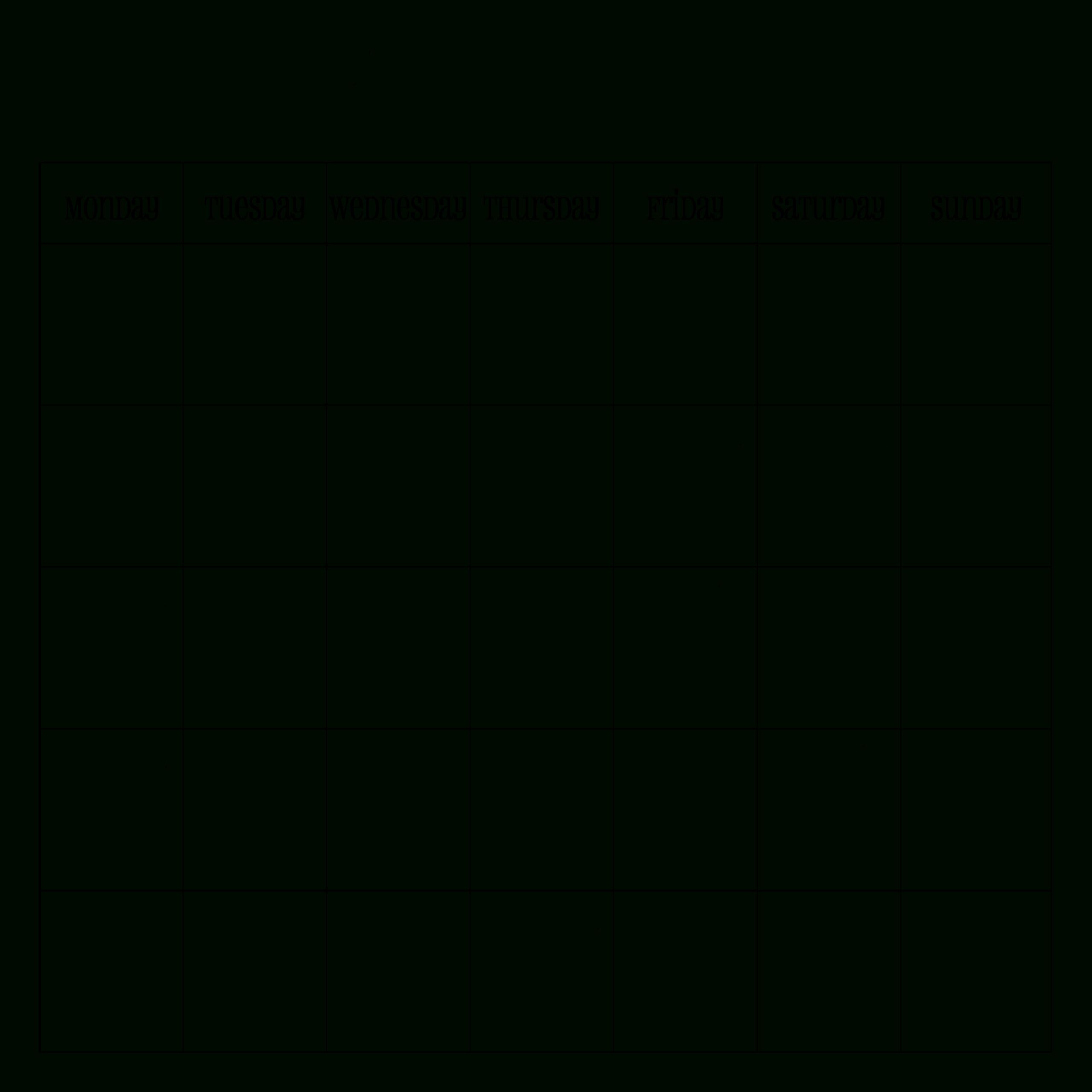 Printable Blank Calendar Template Word, Excel, Pdf with regard to One Week Calendar Template Word
