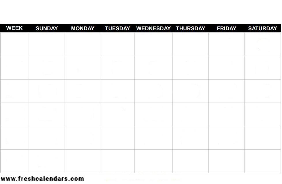 Printable Blank Calendar Templates with regard to Printable Blank Calendar Template