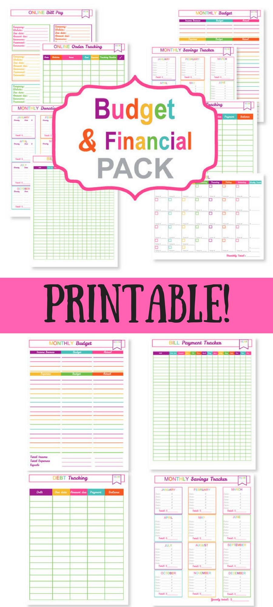 Printable Budget Planner Pack  Printable Bill Tracker intended for Printable Bill Organizer Sheet