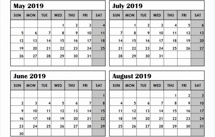 Printable Calendar 4 Months Per Page 2019 In 2020 regarding Printable 4 Month Calendar