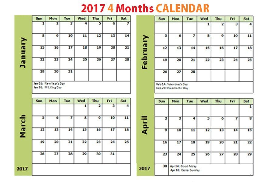 Printable Calendar 4 Months Per Page intended for Printable 4 Month Calendar
