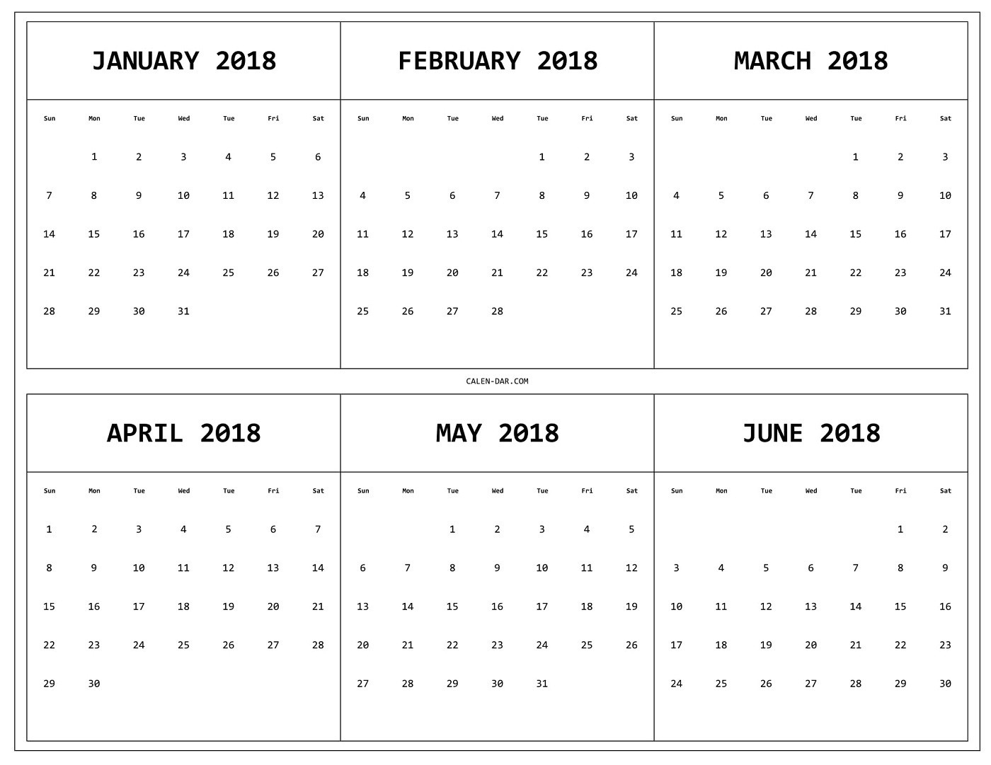 Printable Calendar 6 Months Per Page | Example Calendar within Printable Calendar With Three Months