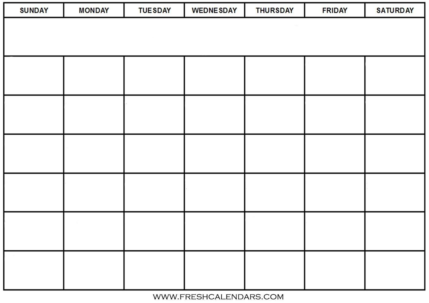 Printable Calendar Templates Full Page  Calendar with Full Page Blank Calendar