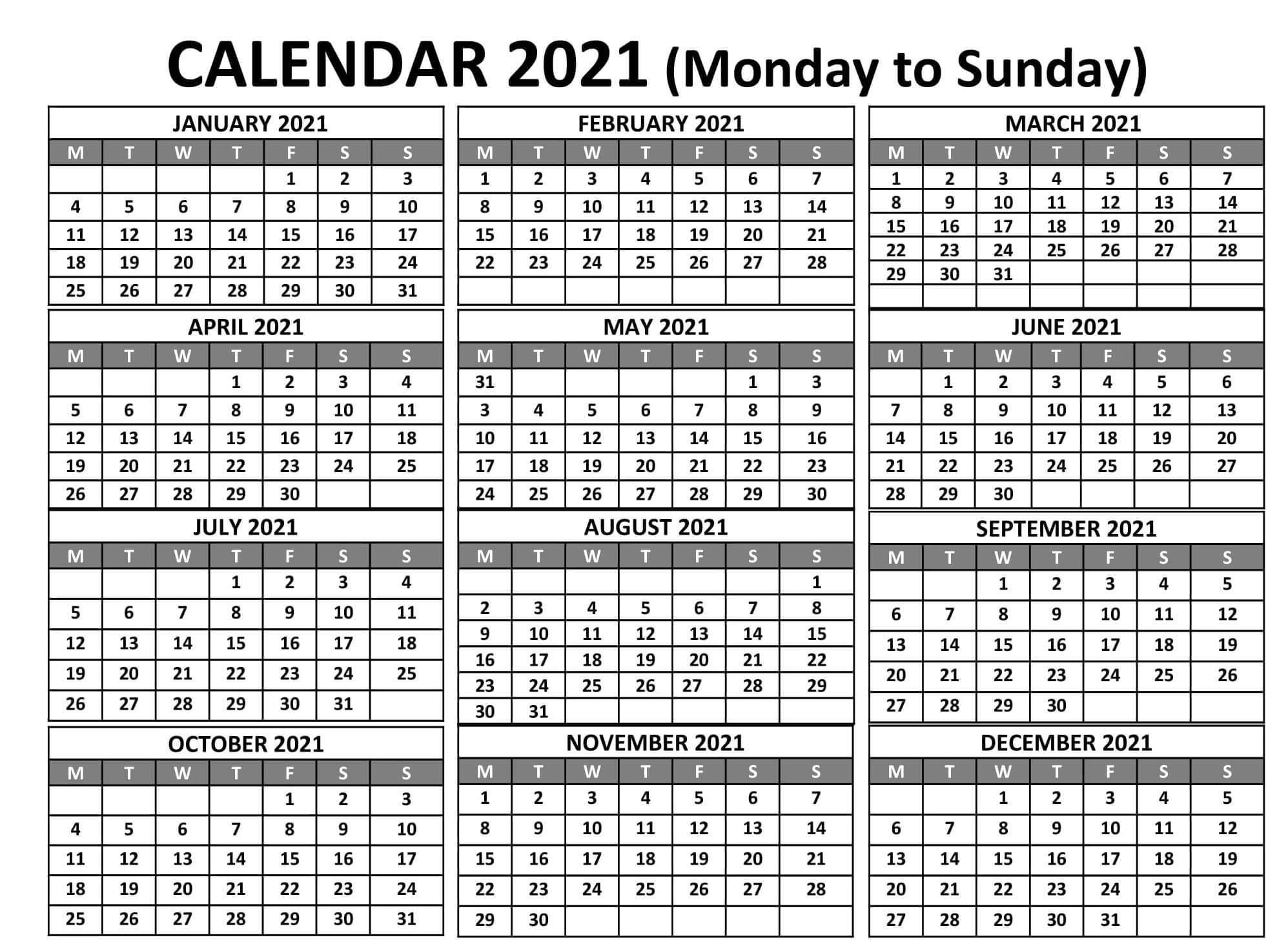 Printable Calendar Year 2021 Holidays Fillable Pdf  Set with 2021 Calendar Excel Start Monday