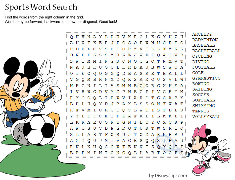 Printable Disney Word Search Games   Disneyclips for Disney World Word Search