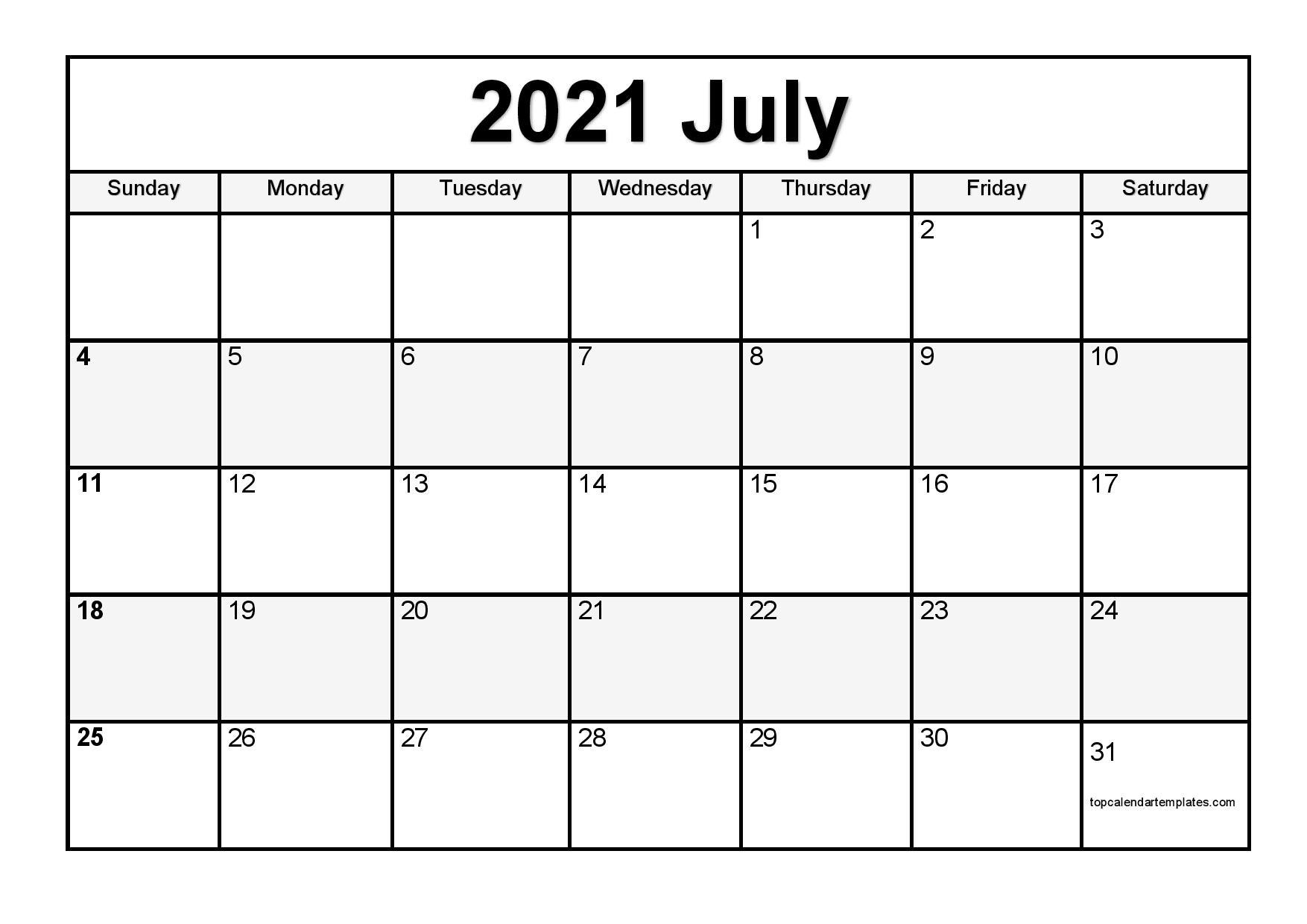 Printable July 2021 Calendar Template  Pdf, Word, Excel intended for 2021 Word Calendar Wincalendar