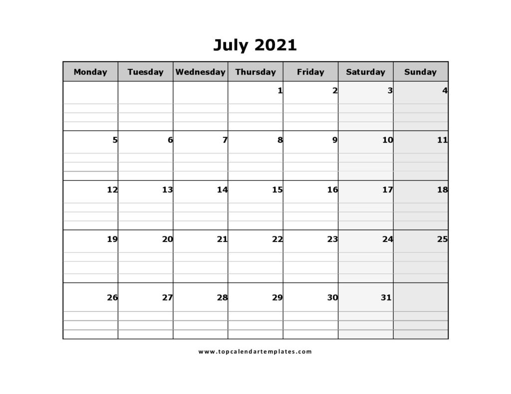 Printable July 2021 Calendar Template  Pdf, Word, Excel pertaining to 2021 Calendar Excel Start Monday