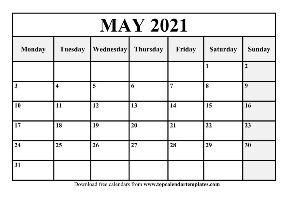 Printable May 2021 Calendar Template  Pdf, Word, Excel pertaining to 2021 Writable Calendars By Month
