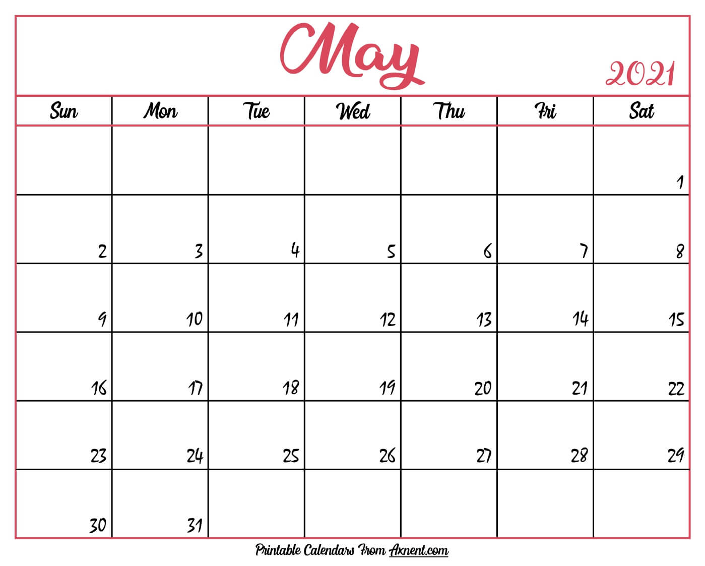 Printable May 2021 Calendar Template  Print Now for 2021 Writable Calendars By Month