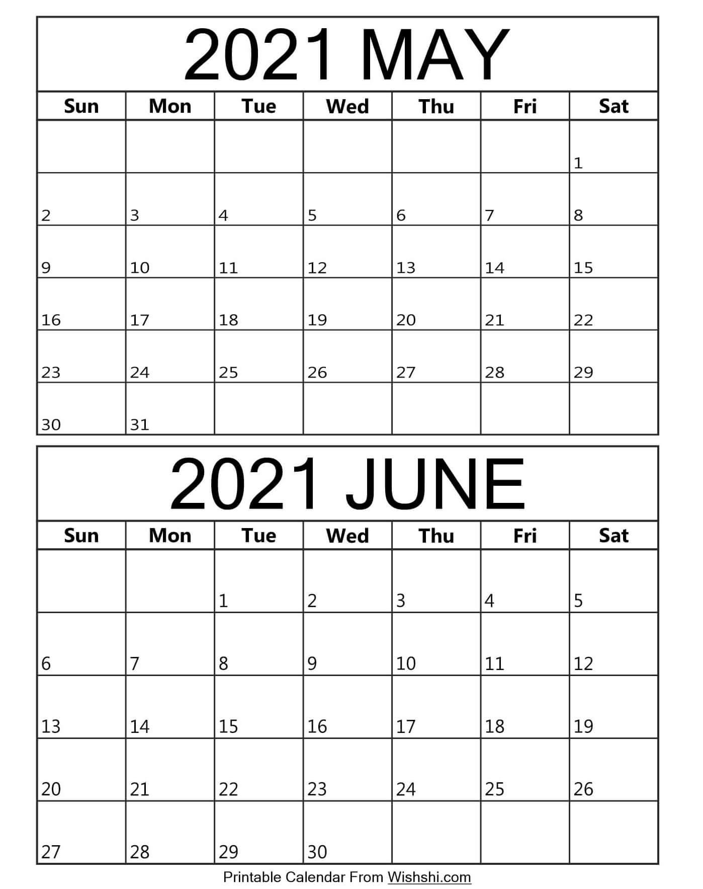 Printable May June 2021 Calendar  Free Printable throughout June 2021 Printable Monthly Calendar With Lines