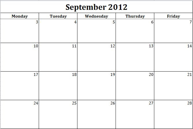 Printable Monday Through Friday Template  Bing with Blank Calendar Monday Through Friday