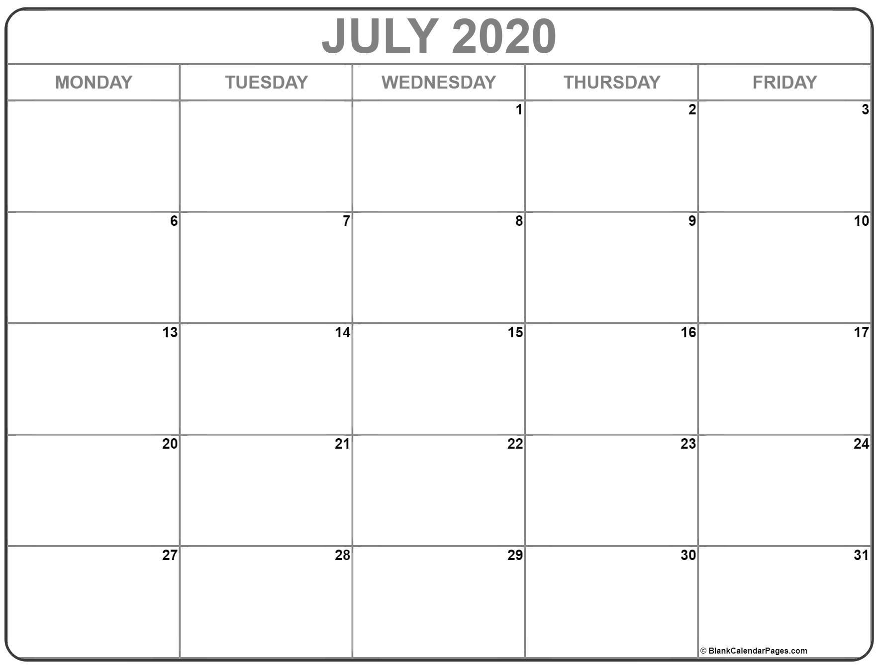 Printable Monday To Sunday 2020 Calendar  Calendar with Calendar Monday To Sunday