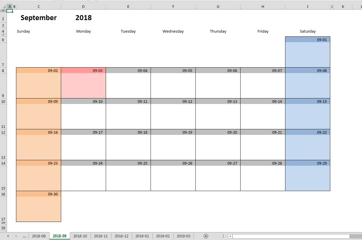 Printable Monthly Calendar Template For Excel | Excelmalin within Calendar In Excel Template