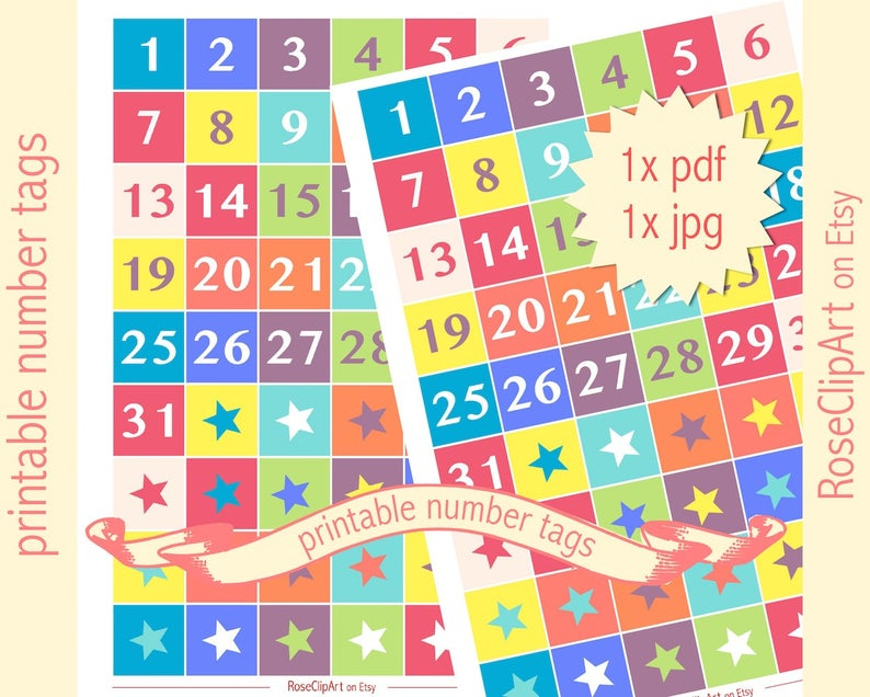 Printable Numbers 131 Instant Download Advent Calendar | Etsy inside Printable Numbers 1-31