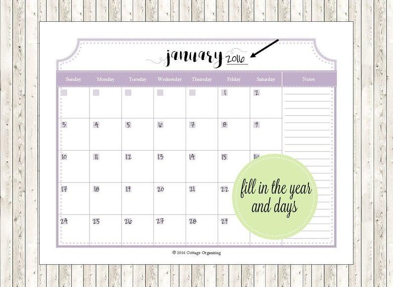 Printable Perpetual Calendar Kit 24 Monthly Calendar Pages intended for Perpetual Monthly Calendar