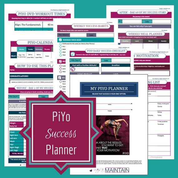 Printable Piyo Planner Fitness Planner Fitness By regarding Piyo Calendar Printable