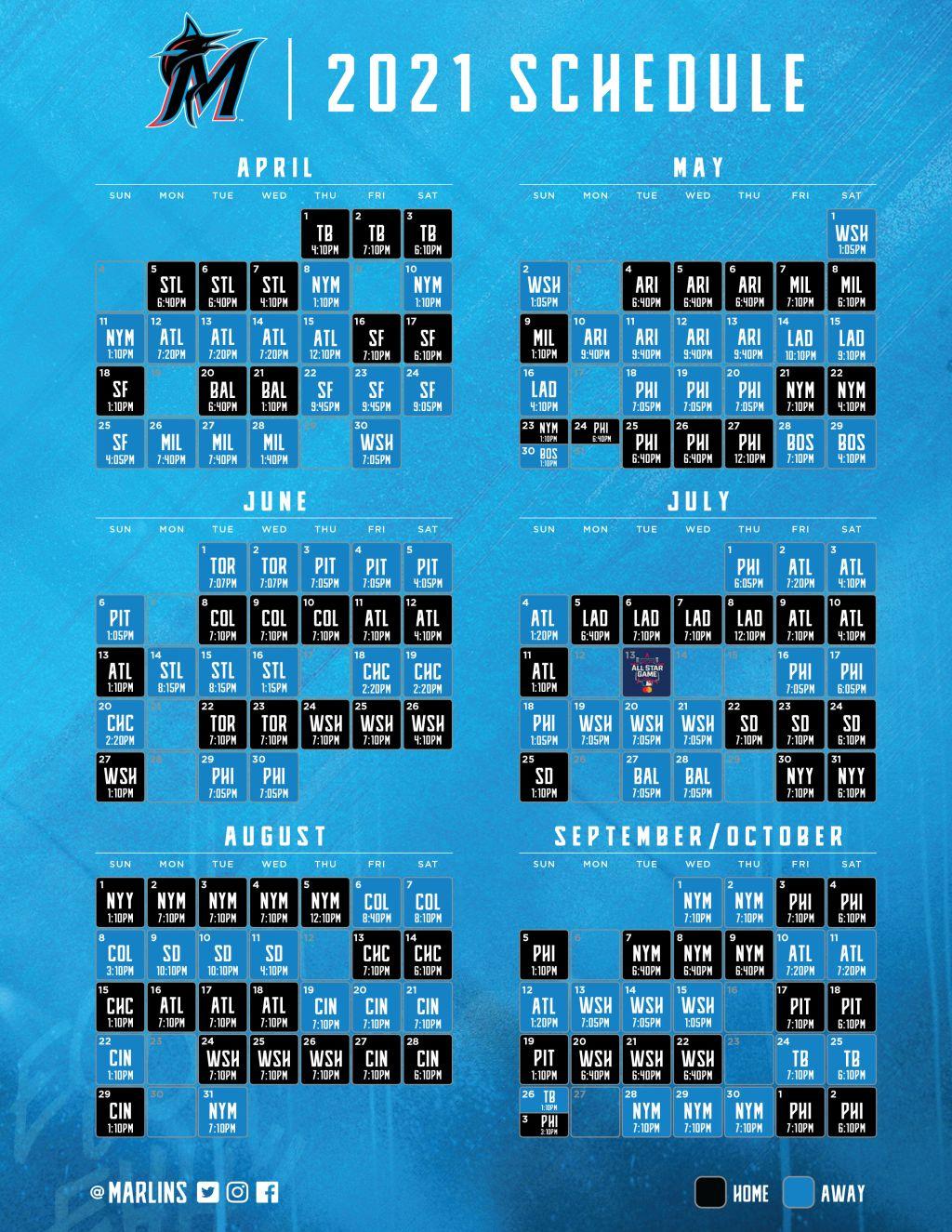 Printable Schedule | Miami Marlins regarding Atlanta Braves Printable Schedule Calendar 2021