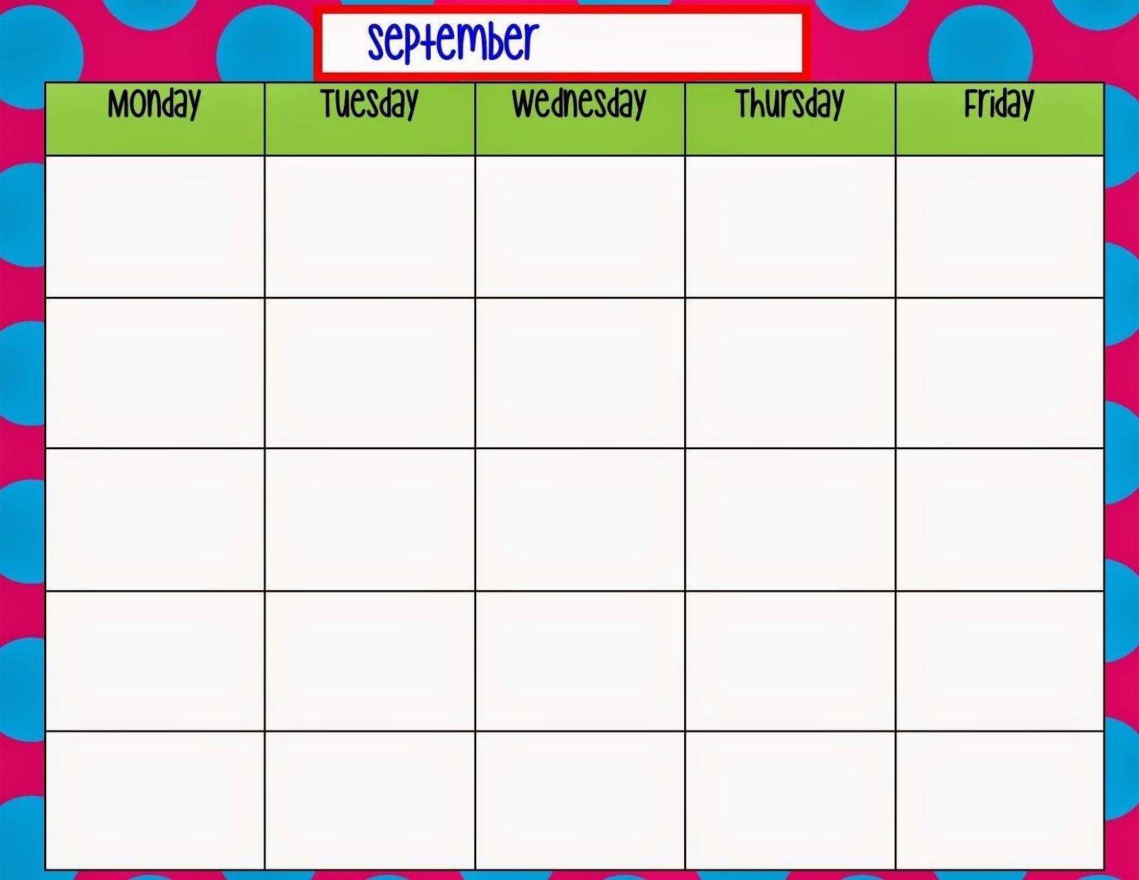 Printable Weekly Calendar Monday Through Friday | Ten Free inside Blank Monday Through Friday Calendar