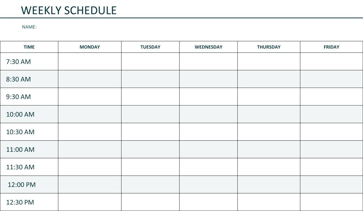 Printable Weekly Schedule Monday Through Friday  Calendar for Blank Monday Through Friday Calendar