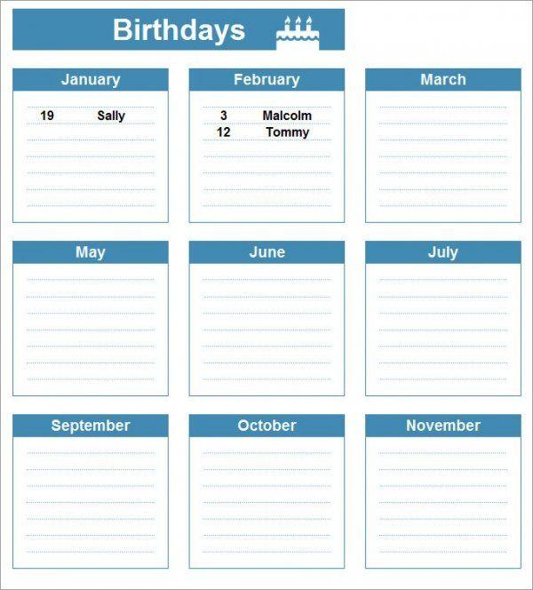 Psd, Pdf, Excel | Free & Premium Templates | Birthday in Birthday Calendar Template Excel