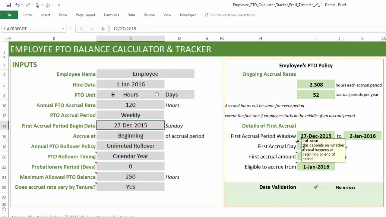 Pto Calculator Excel Template  Employee Pto Tracker with Free Pto Calendar Templates