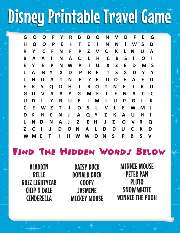 Road Trip Tips: Bring This Free Disney Word Search + More in Disney World Word Search