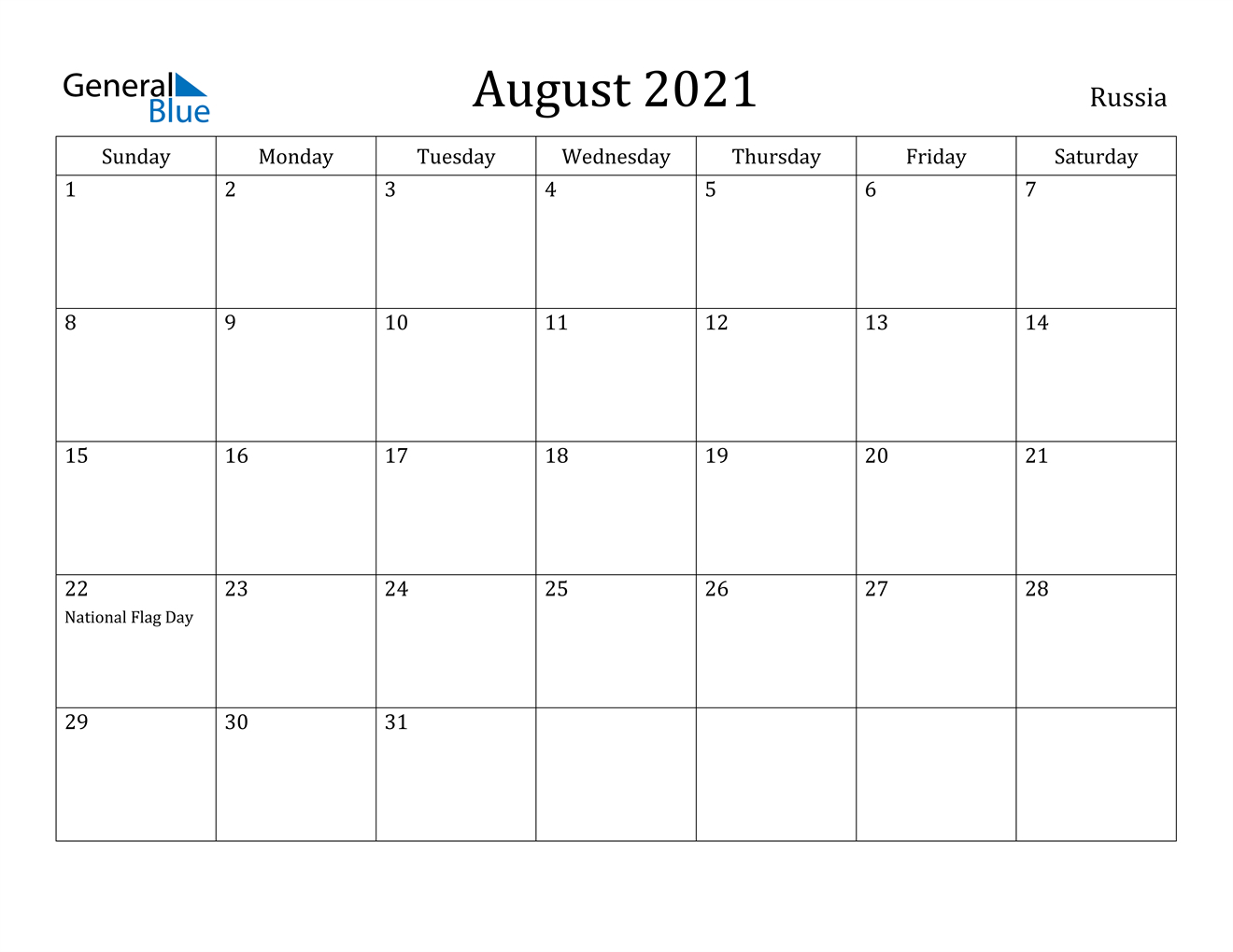 Russia August 2021 Calendar With Holidays inside Free Calendars 2021 Word Doc Printable August
