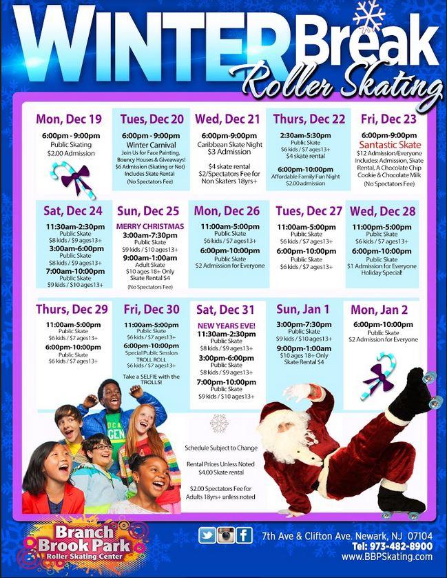 Schedule   Branch Brook Park Roller Skating Center Of pertaining to Branch Brook Park Roller Skating