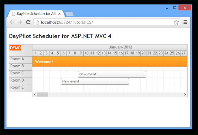 Scheduler For Asp Mvc 4 Razor Tutorial (C#, Vb, Sql Server) | Daypilot News  Html5 with Net Mvc Calendar