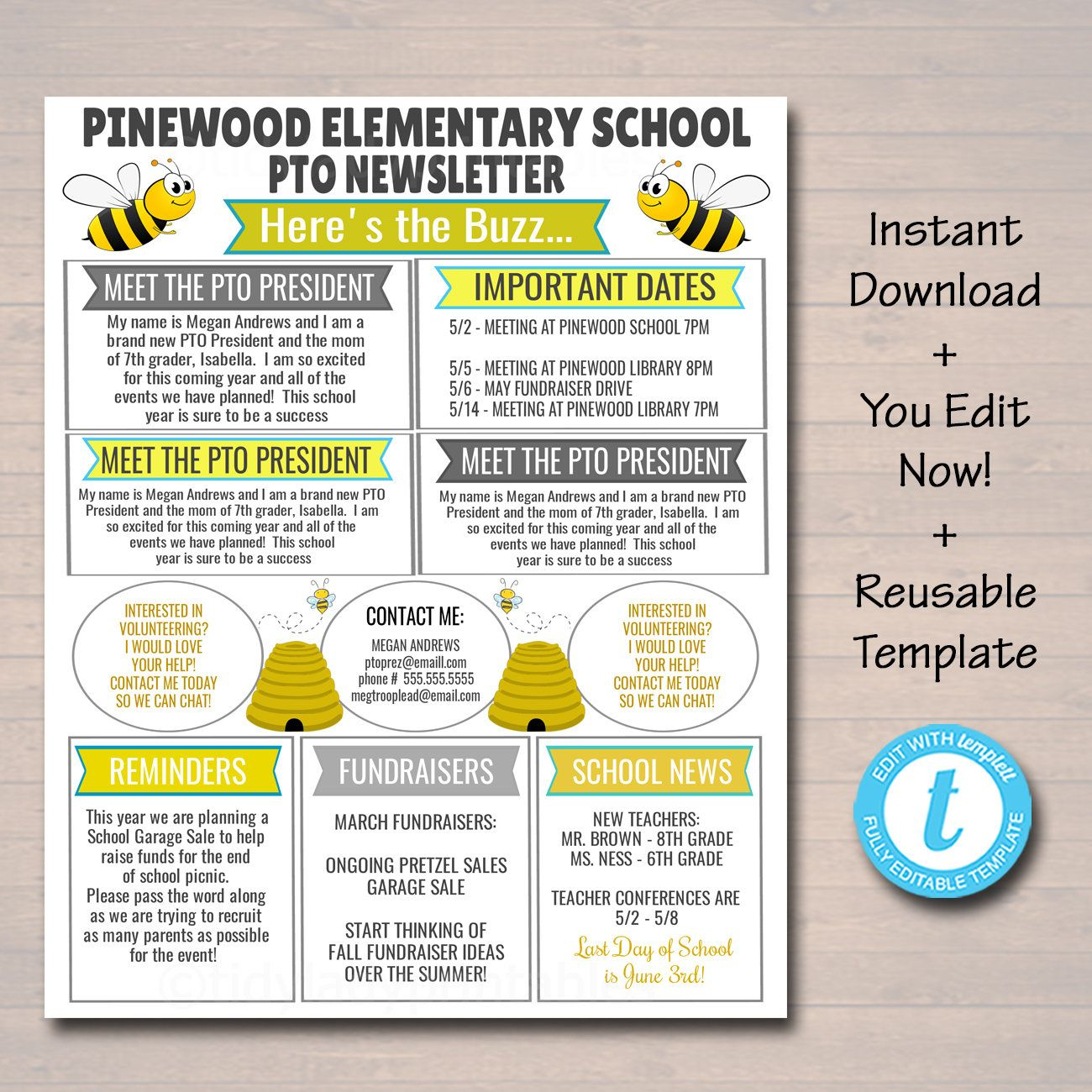 School Pto Pta Newsletter Flyer, Bee Theme Classroom in Free Pto Calendar Templates