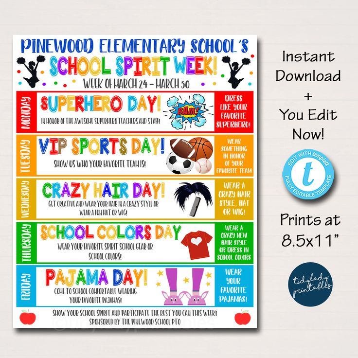 School Spirit Week Itinerary Schedule, Daily Weekly pertaining to Free Pto Calendar Templates