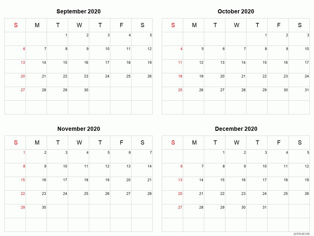 Sepdec 2020 Printable Calendar   Four Months Per Page with Printable 4 Month Calendar
