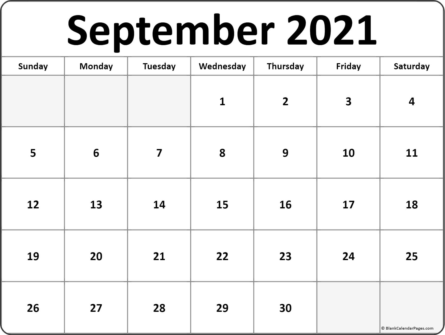 September 2021 Blank Calendar Collection. for 2021 Writable Calendars By Month