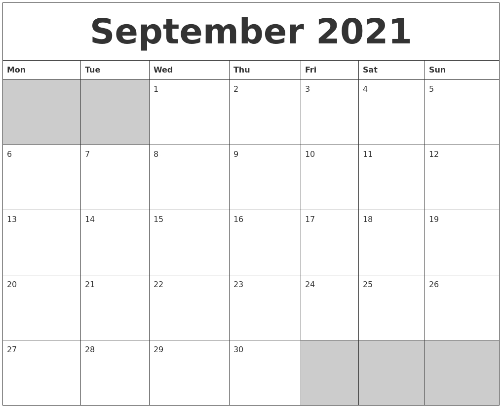 September 2021 Blank Printable Calendar throughout Google Printable Monthly Calendar 2021