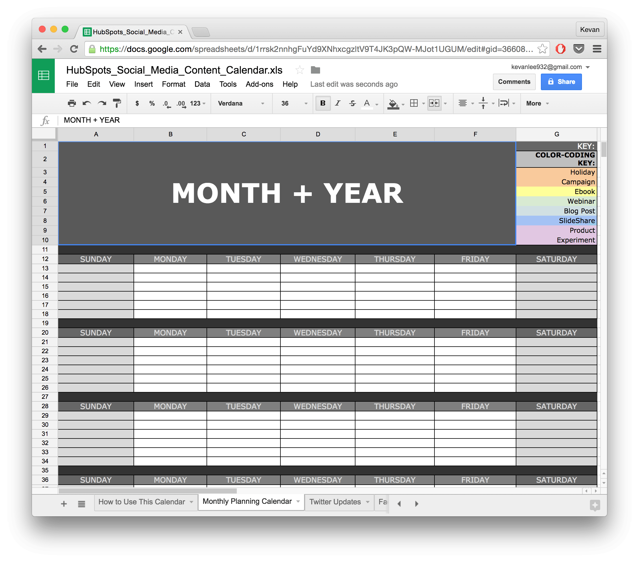 Social Media Calendar Template Google Docs  Planner with regard to Google Docs Editorial Calendar Template