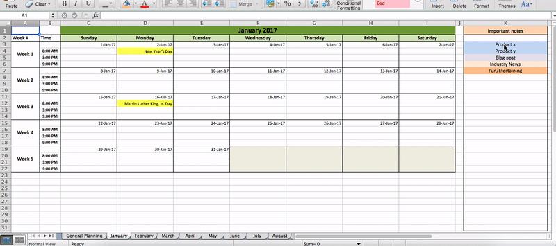 Social Media Calendar Template Google Docs  Printable for Google Docs Editorial Calendar Template
