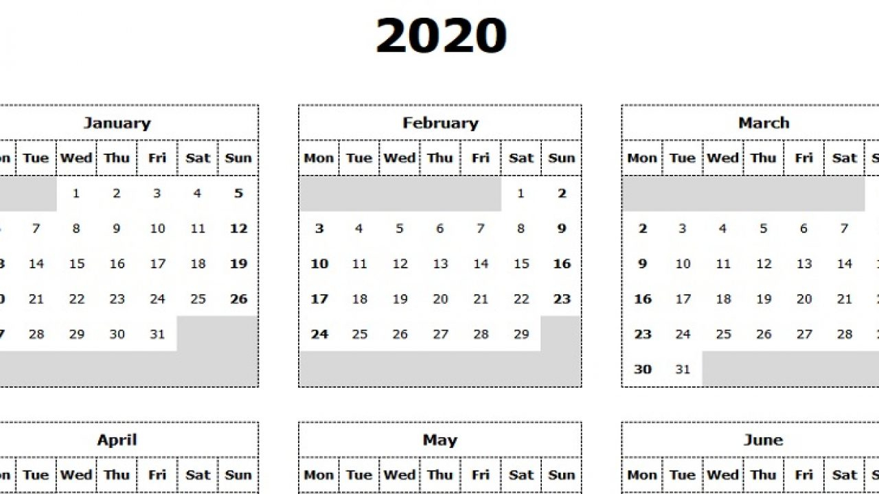 Take Yearly Calendar Printable 2020 Start On Monday intended for 2021 Calendar Excel Start Monday