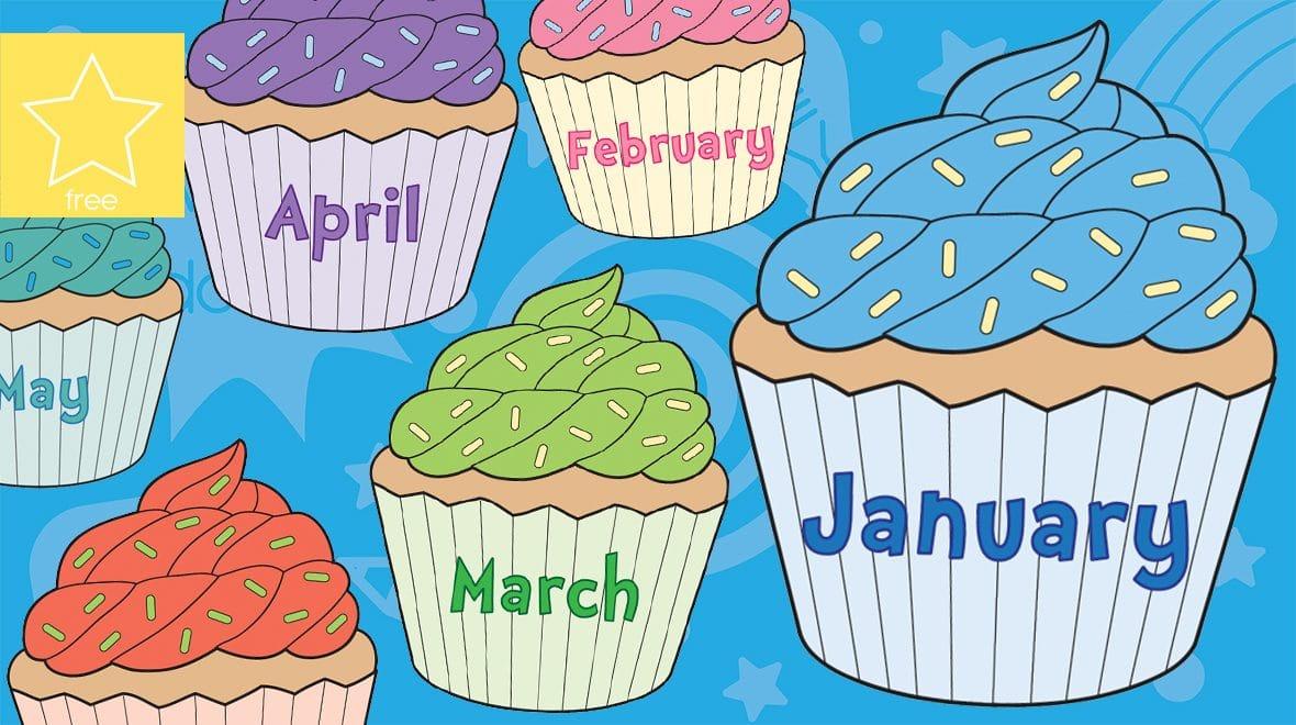 Teacher'S Pet » Months Of The Year Birthday Cupcakes pertaining to Cupcake Birthday Display