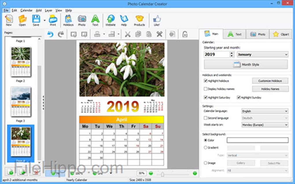 Télécharger Ams Photo Calendar Creator 12.0 Pour Windows inside Win Calendar Creator