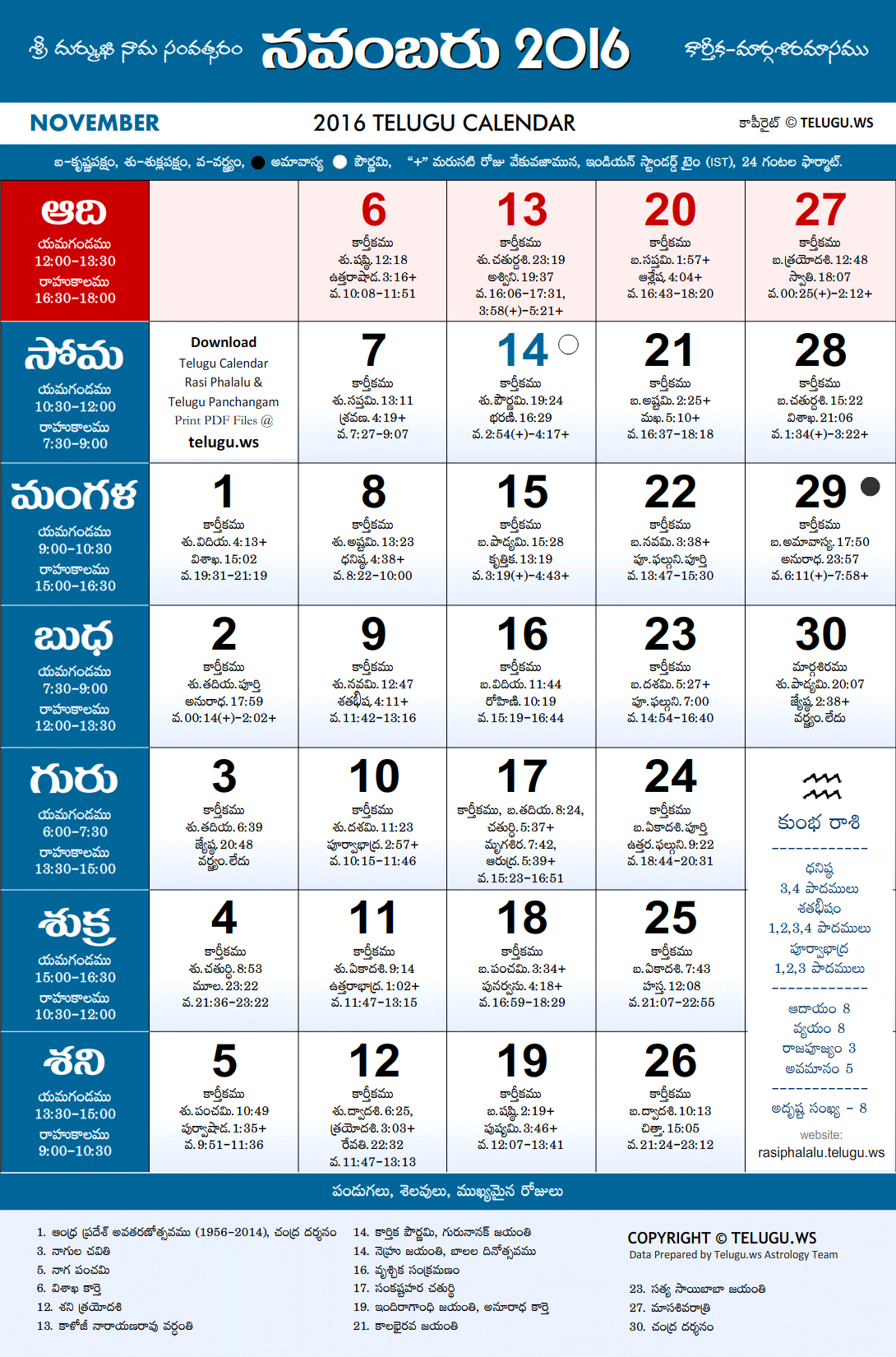 Telugu Calendar 2016 November Pdf Print With Festivals intended for Masagalu In Kannada