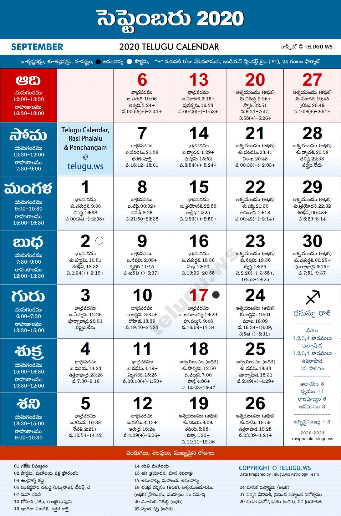 Telugu Calendar 2020 September Pdf Print With Festivals with Masagalu In Kannada